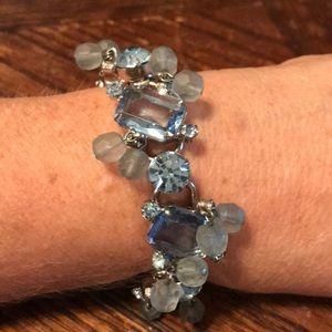 Juliana blue glass five link bracelet